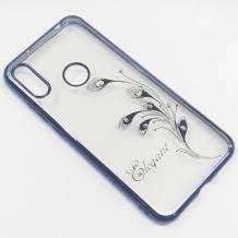 Луксозен силиконов калъф / гръб / TPU / Elegant с камъни за Huawei Honor 20 Lite - прозрачен със син кант / перо