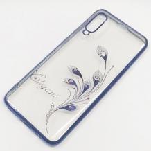 Луксозен силиконов калъф / гръб / TPU / Elegant с камъни за Samsung Galaxy A70 - прозрачен със син кант / перо