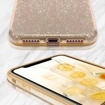 Силиконов калъф / гръб / TPU за Samsung Galaxy S10 Lite / A91 - златист / брокат