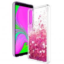 Луксозен твърд гръб 3D Water Case за Samsung Galaxy A7 2018 A750F - прозрачен / течен гръб с брокат / сърца / розов