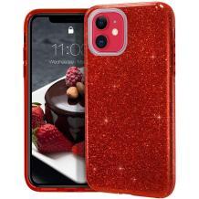 Силиконов калъф / гръб / TPU за Samsung Galaxy S10 Lite / A91 - тъмно червен / брокат