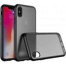 Луксозен твърд гръб ICE със силиконова рамка за Apple iPhone X / iPhone XS - прозрачен / черен