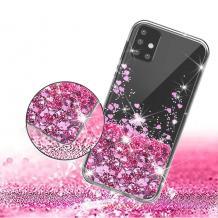 Луксозен твърд гръб 3D Water Case за Samsung Galaxy A41 - прозрачен / течен гръб с брокат / сърца / розов