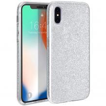 Силиконов калъф / гръб / TPU за Apple iPhone X / iPhone XS - сребрист / брокат
