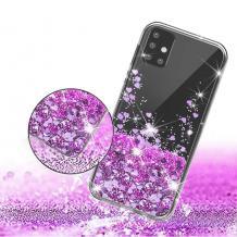 Луксозен твърд гръб 3D Water Case за Samsung Galaxy S10 Lite / A91 - прозрачен / течен гръб с брокат / сърца / лилав