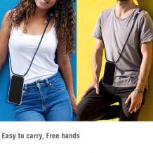 Удароустойчив силиконов калъф / гръб / TPU с връзка за Samsung Galaxy S21 Ultra - прозрачен / черна връзка