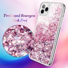 Луксозен твърд гръб 3D Water Case за Apple iPhone 11 - прозрачен / течен гръб с розов брокат