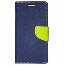 Калъф Flip тефтер Mercury GOOSPERY Fancy Diary със стойка за Lenovo A7010 - тъмно синьо и зелено
