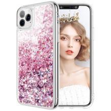 Луксозен твърд гръб 3D Water Case за Apple iPhone 11 Pro Max - прозрачен / течен гръб с розов брокат