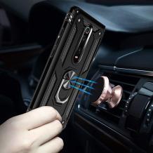 Силиконов гръб Spigen със стойка и магнитно захващане за Xiaomi Mi 9T - черен