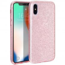 Силиконов калъф / гръб / TPU за Apple iPhone X / iPhone XS - розов / брокат