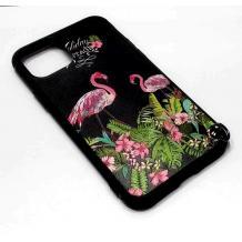 """Луксозен силиконов калъф / гръб / TPU за Apple iPhone 11 6.1"""" - черен с цветя и фламинго"""