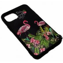 """Луксозен силиконов калъф / гръб / TPU за Apple iPhone 11 Pro Max 6.5"""" - черен с цветя и фламинго"""