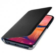 Луксозен кожен калъф Flip тефтер Samsung Galaxy A20e - черен