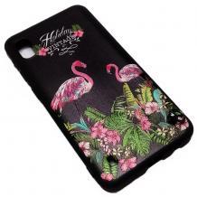 Луксозен силиконов калъф / гръб / TPU за Samsung Galaxy A10 - черен с цветя и фламинго