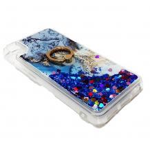 Луксозен силиконов калъф / гръб / tpu 3D Water Case със стойка за Xiaomi Redmi 7A - мрамор / син брокат и сърца