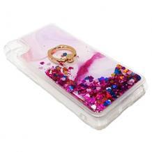 Луксозен силиконов калъф / гръб / tpu 3D Water Case със стойка за Xiaomi Redmi 7A - мрамор / розов брокат и сърца