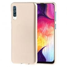 Луксозен силиконов калъф / гръб / TPU за Samsung Galaxy A50 - бежов / гланц