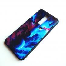 Луксозен стъклен твърд гръб за Xiaomi Redmi Note 8 Pro - вълк / цветен