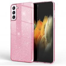 Силиконов калъф / гръб / TPU за Samsung Galaxy S21 Plus - розов / брокат