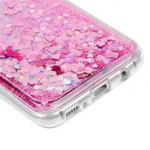 Луксозен твърд гръб 3D Water Case за Xiaomi Redmi 9 - прозрачен / течен гръб с брокат / сърца / розов