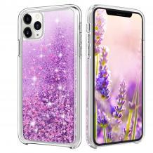 Луксозен твърд гръб 3D Water Case за Apple iPhone 11 Pro Max - прозрачен / течен гръб с лилав брокат