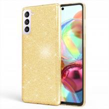 Силиконов калъф / гръб / TPU за Samsung Galaxy S21 Plus - златист / брокат