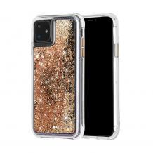 """Луксозен твърд гръб 3D Water Case за Apple iPhone 11 6.1"""" - прозрачен / течен гръб с брокат / златист"""