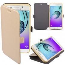 Кожен калъф Flip тефтер Flexi със стойка за Huawei Honor 20 / Huawei Nova 5T - златист