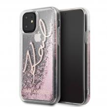 """Оригинален силиконов гръб 3D Water Case за Apple iPhone 11 6.1"""" - прозрачен / розов брокат / KARL LAGERFELD"""
