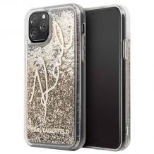 "Оригинален силиконов гръб 3D Water Case за Apple iPhone 11 Pro Max 6.5"" - прозрачен / златист брокат / KARL LAGERFELD"