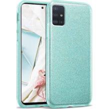 Силиконов калъф / гръб / TPU за Samsung Galaxy A71 - мента / брокат