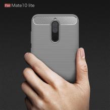 Силиконов калъф / гръб / TPU за Huawei Mate 10 Lite - сив / Carbon