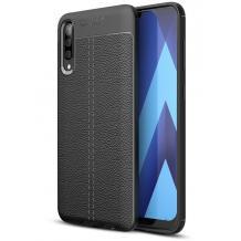 Луксозен силиконов калъф / гръб / TPU за Samsung Galaxy A70 - черен / имитиращ кожа
