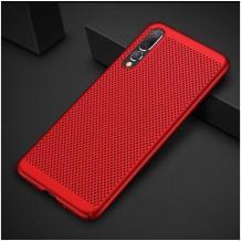 Луксозен твърд гръб за Samsung Galaxy A10 - червен / Grid