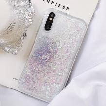 Луксозен твърд гръб 3D Water Case за Samsung Galaxy A7 2018 A750F - прозрачен / течен гръб с бял брокат / розови сърца