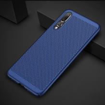 Луксозен твърд гръб за Samsung Galaxy A7 2018 A750F - тъмно син / Grid