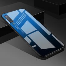Луксозен стъклен твърд гръб за Samsung Galaxy A7 2018 A750F - преливащ / синьо и черно