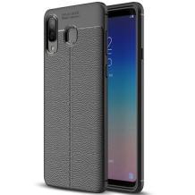Луксозен силиконов калъф / гръб / TPU за Samsung Galaxy A40 - черен / имитиращ кожа