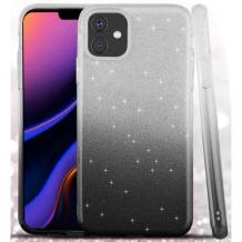 Силиконов калъф / гръб / TPU за Apple iPhone 11 6.1'' - преливащ / сребристо и черно / брокат