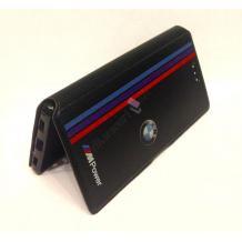 Кожен калъф Flip тефтер със стойка за Lenovo Vibe C2 - BMW / MPower / черен с червено