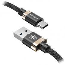 Оригинален USB кабел BASEUS Golden Belt 3A Type-C за зареждане и пренос на данни 2в1 1,5m за Samsung, Huawei, Sony, Xiaomi, Nokia, LG, Lenovo, HTC, Alcatel и др. - черен със златно