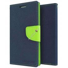Кожен калъф Flip тефтер Mercury GOOSPERY Fancy Diary със стойка за Lenovo A369 - тъмно синьо и зелено
