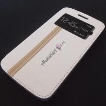 Луксозен кожен калъф Flip тефтер S-View UFO със стойка за Apple iPhone 6 Plus / iPhone 6S Plus - бял
