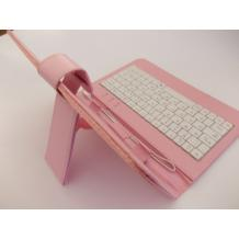 """Универсален кожен калъф за таблет 7"""" със стойка / клавиатура с Micro USB кабел - розов"""