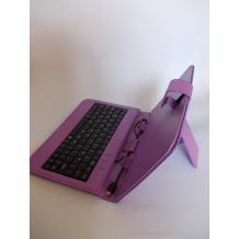 Универсален кожен калъф за таблет със стойка и клавиатура с Micro USB кабел 7''- лилав