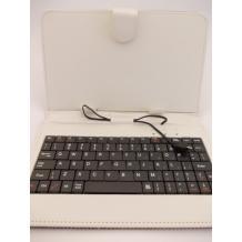 """Универсален кожен калъфза таблет 7"""" със стойка / клавиатура с Micro USB кабел - черен с бяло"""
