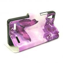 Кожен калъф Flip тефтер със стойка за Lenovo A6000 / A6010 - бял / лилави цветя и пеперуди