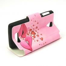 Кожен калъф Flip тефтер със стойка за Lenovo A1000 - розов / устни и сърца