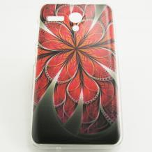 Силиконов калъф / гръб / TPU за Lenovo A606 - червено цвете